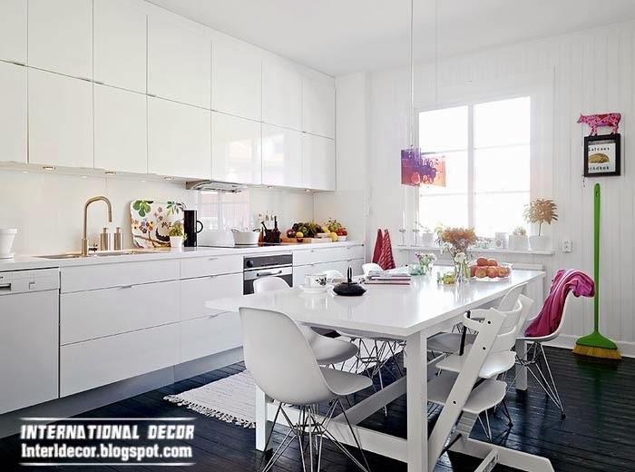 Scandinavian kitchen style, snow white glossy kitchen design