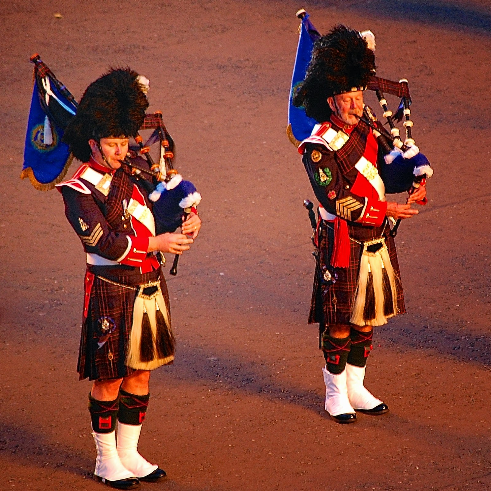 Two bagpipers