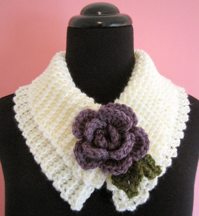 BellaCrochet: Sweet and Simple Scarflette with Rolled Rose ...