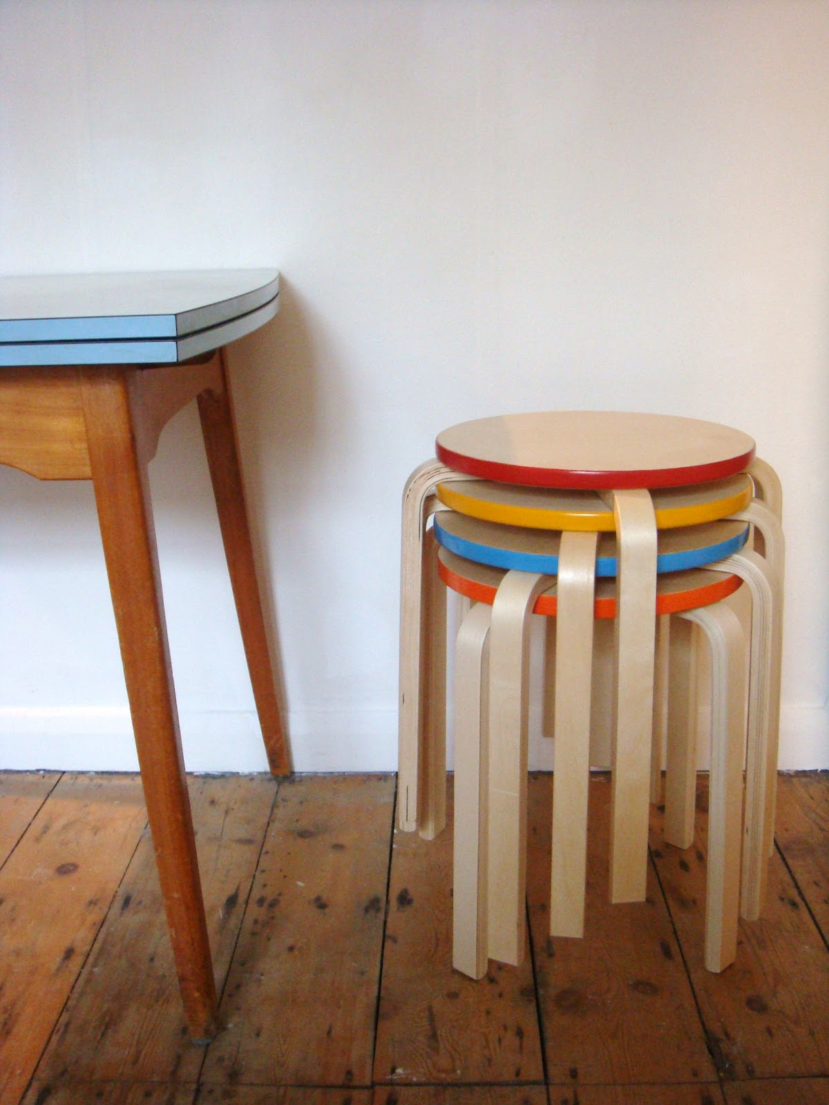 Stackable Wood Stools ~ Tapestry face wooden stacking stools