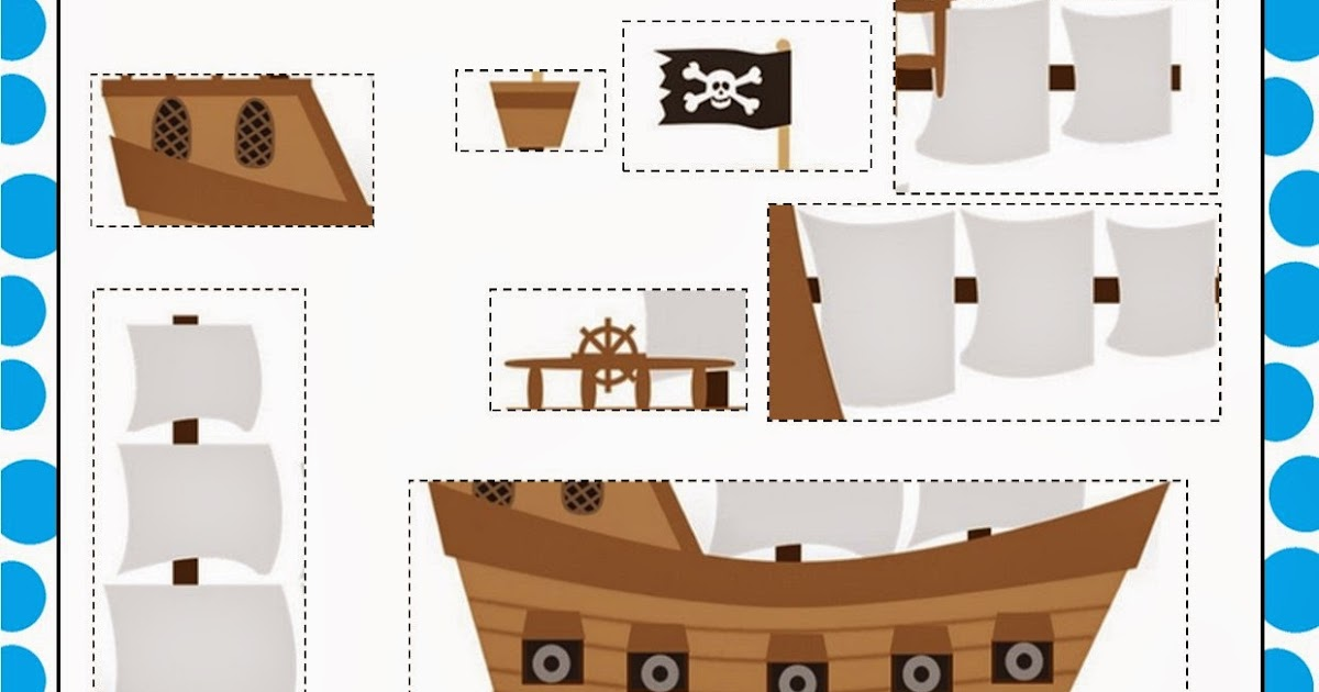 Simply Kids Learning Pirate Ship Cut And Stick Activity