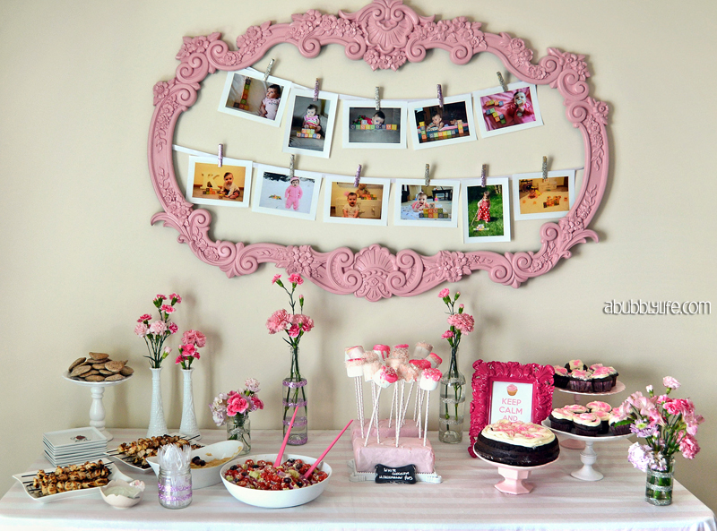 A bubbly life pink girly budget diy first birthday for Baby first birthday decoration ideas