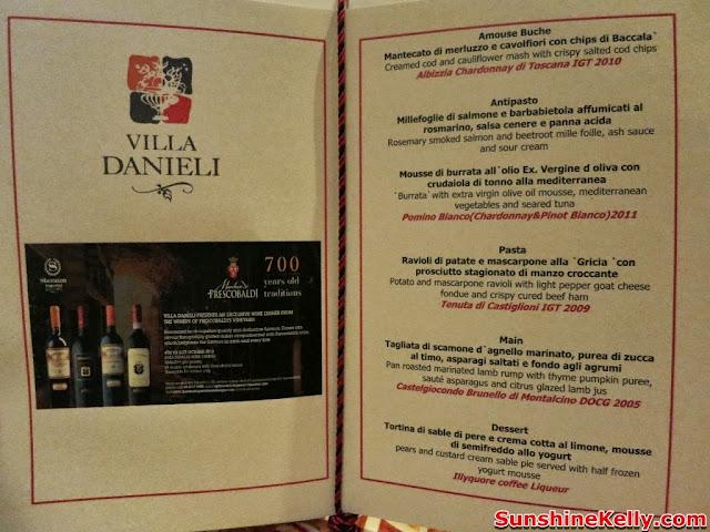 Frescobaldi Wine, Dinner, Villa Danieli, Sheraton Imperial hotel, Five-course set menu