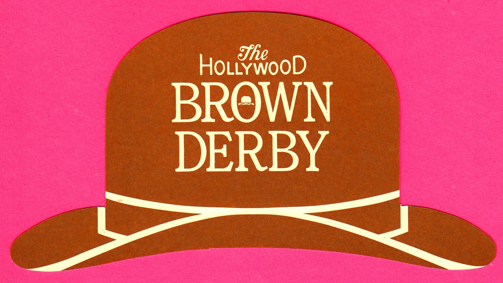 Shaped like a brown derby, this card comes from an eponymous version of that storied Hollywood hot spot (which closed in 1980), faithfully replicated at ...