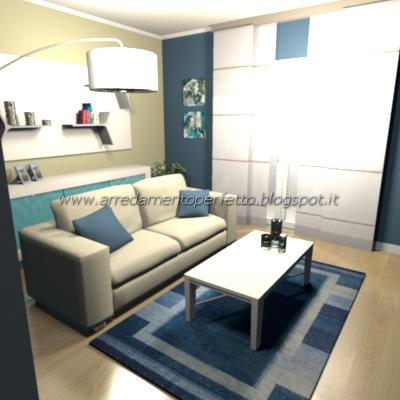 Il soggiorno in stile moderno visto dall'ingresso