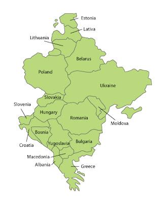 Mappa dell'Europa Orientale Politico