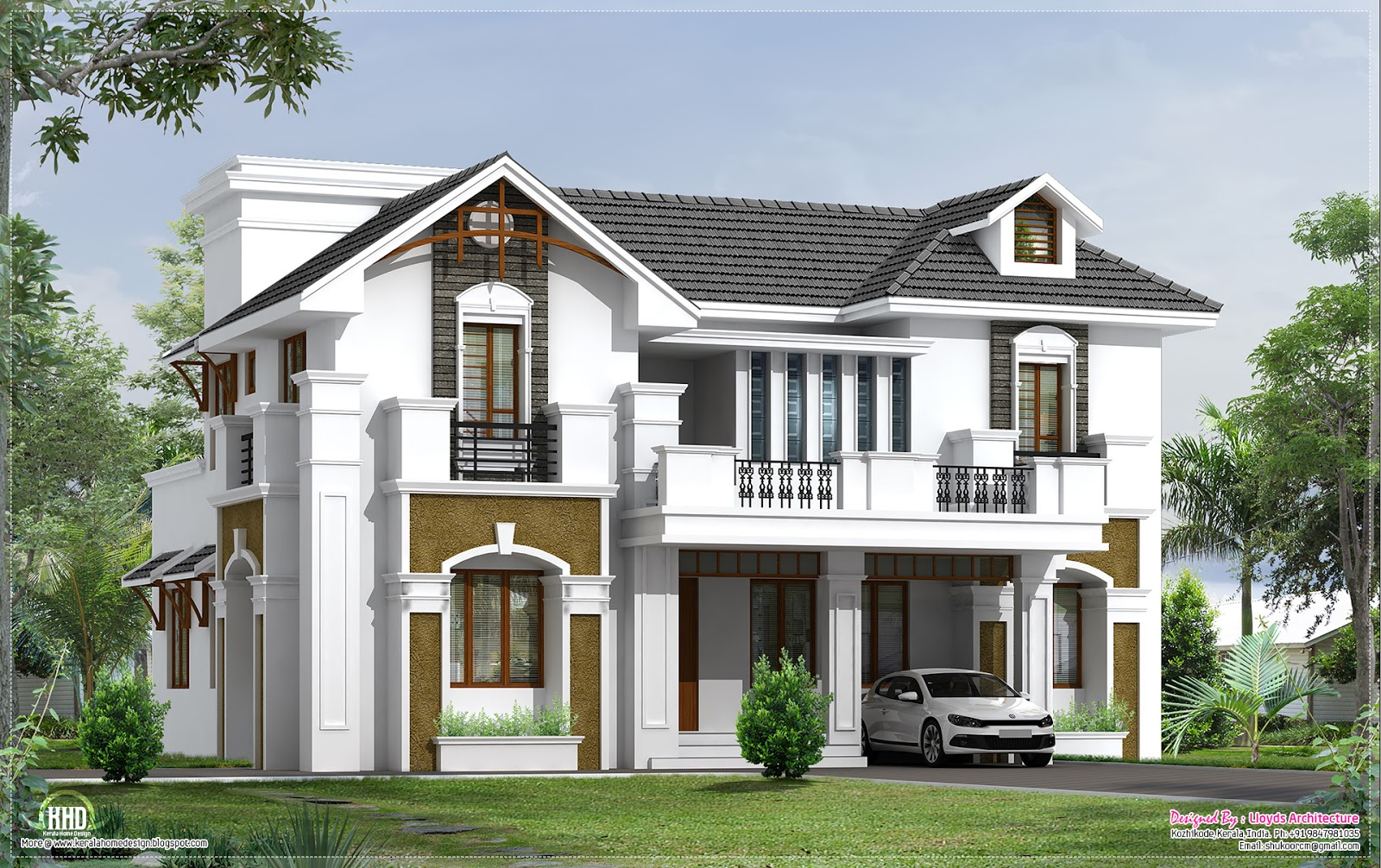 3d view of 2200 square feet villa house design plans House plan 3d view