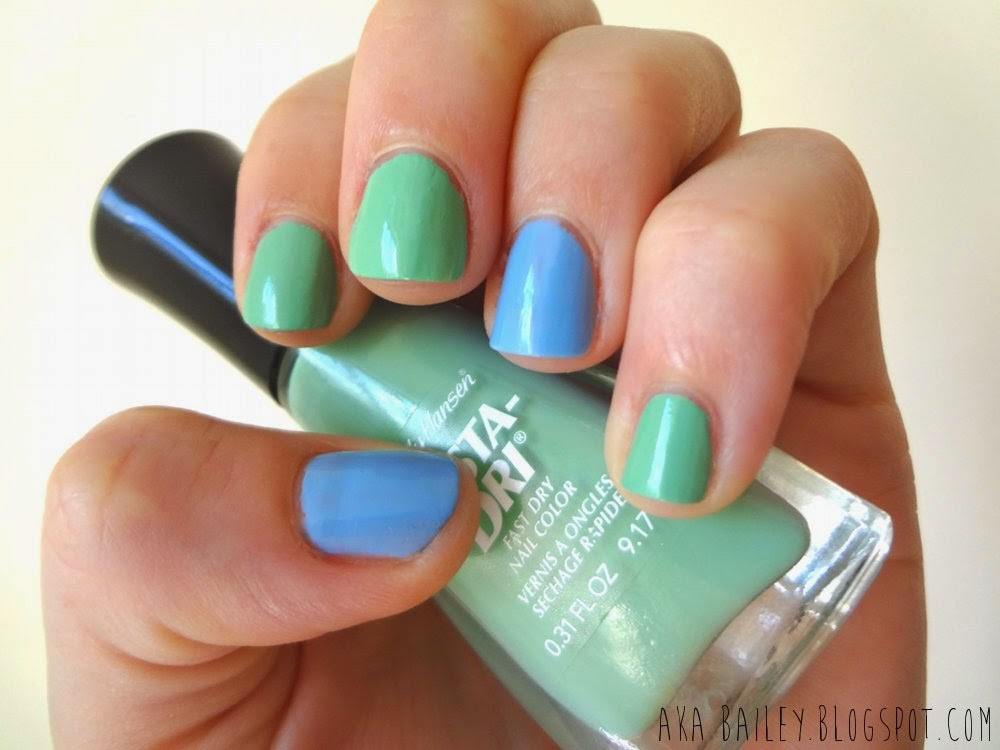 Jade Jump, jade and blue pastel nail polish