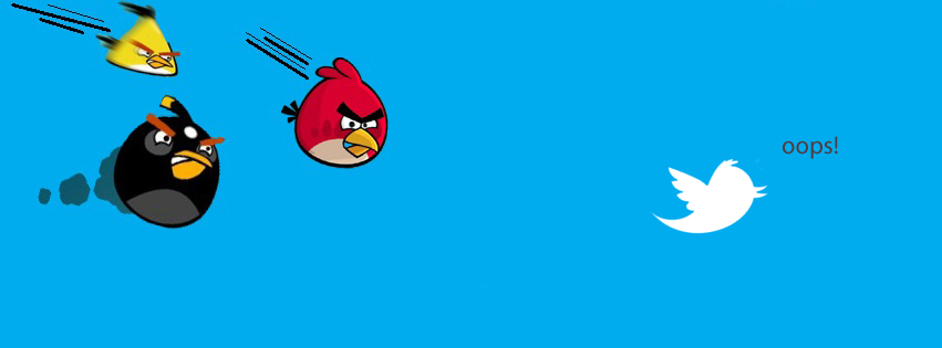 Targeting Twitter bird by angry bird funny Facebook cover
