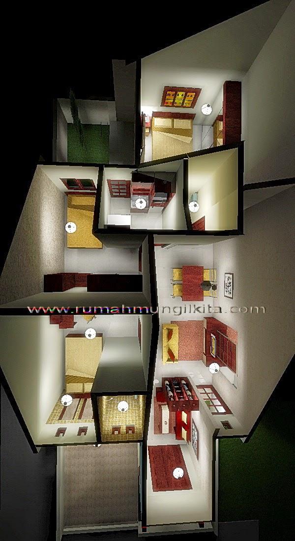 renovasi rumah dengan lebar 6 meter - denah 3 dimensi