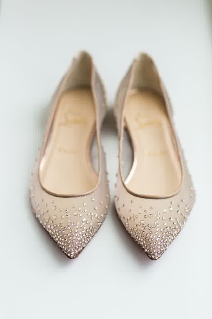Louboutin Sparkly Flat Wedding Shoes