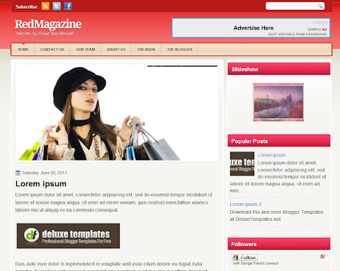 Red Magazine Blogger Theme
