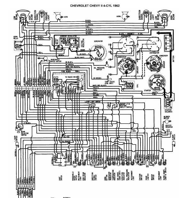 free auto wiring diagram 1962 chevrolet chevy ii   nova Chevy 305 Engine Diagram 5.7 Vortec Engine Diagram