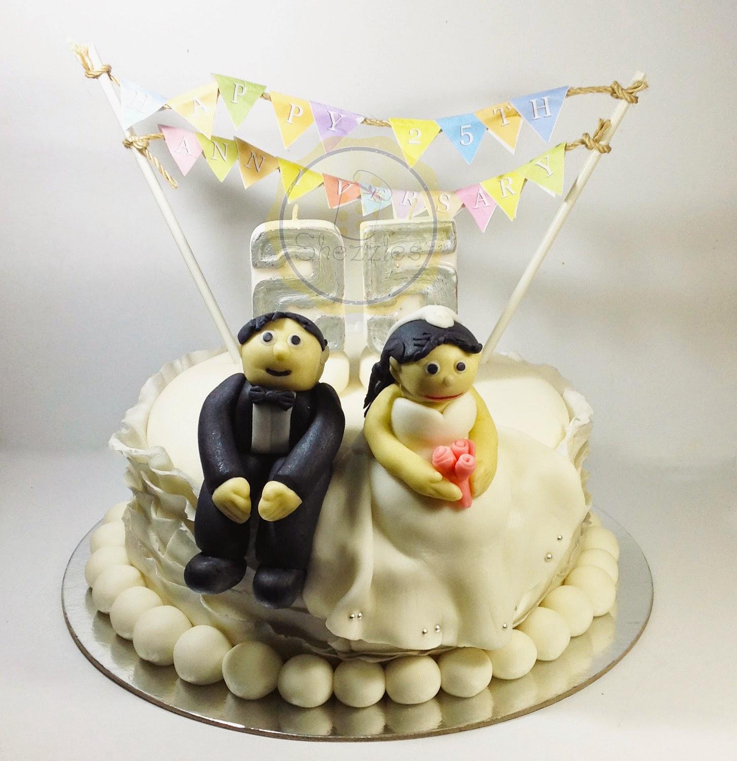 Shezzles Dessert in a jar: Silver Wedding Anniversary Cake