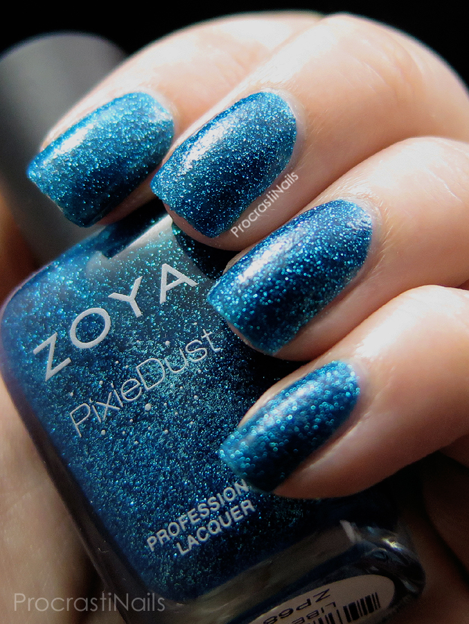 Swatch of Zoya PixieDust Liberty textured nail polish with top coat