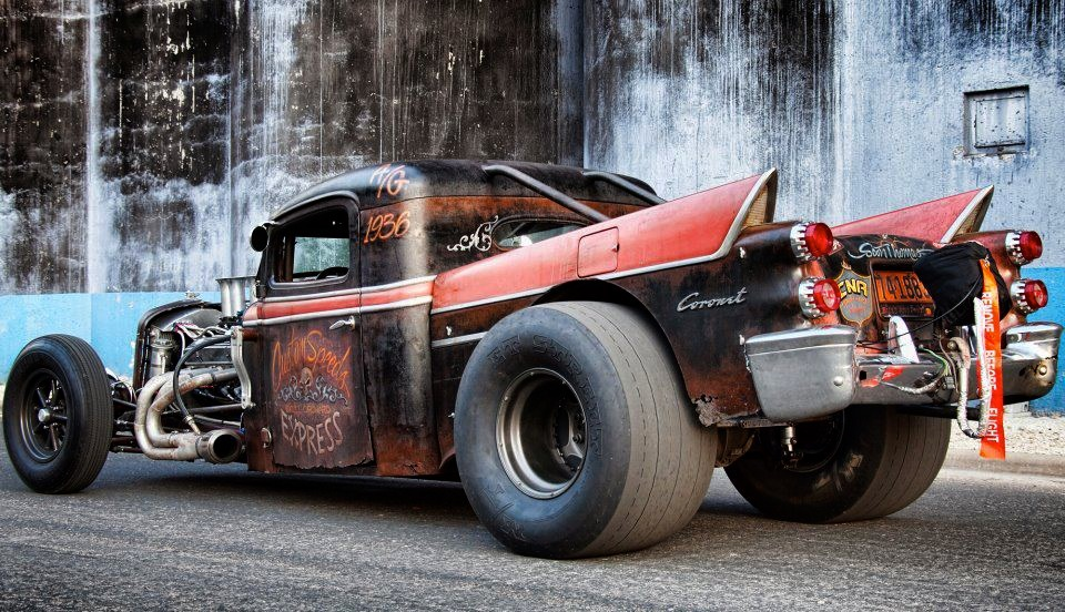 Just A Car Guy: Rat rod with 50\'s Coronet tailfins... cool look