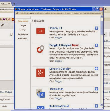 cara menambahkan dan mengatur gadget (widget) di blog (blogger)