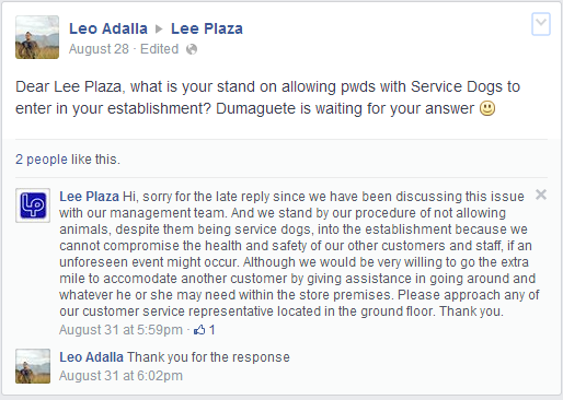 Lee Super Plaza still pursuing their policy of No pets Allowed