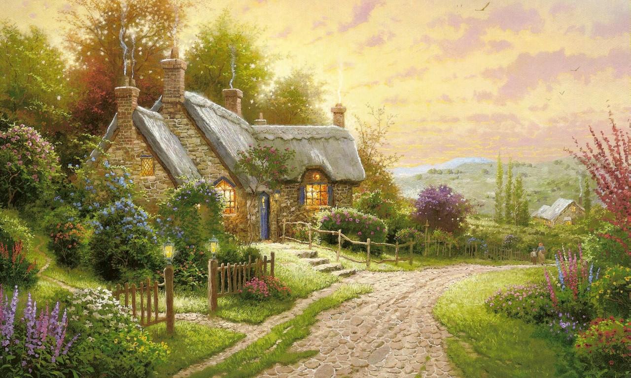 Compartiendo fondos hermosos paisajes con casas de campo for The look at home