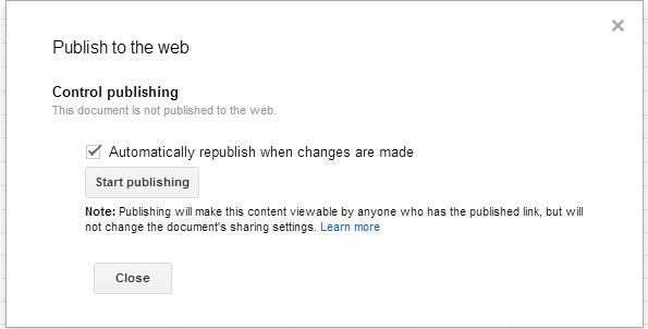 Embed lembar kerja excel dari Google Docs