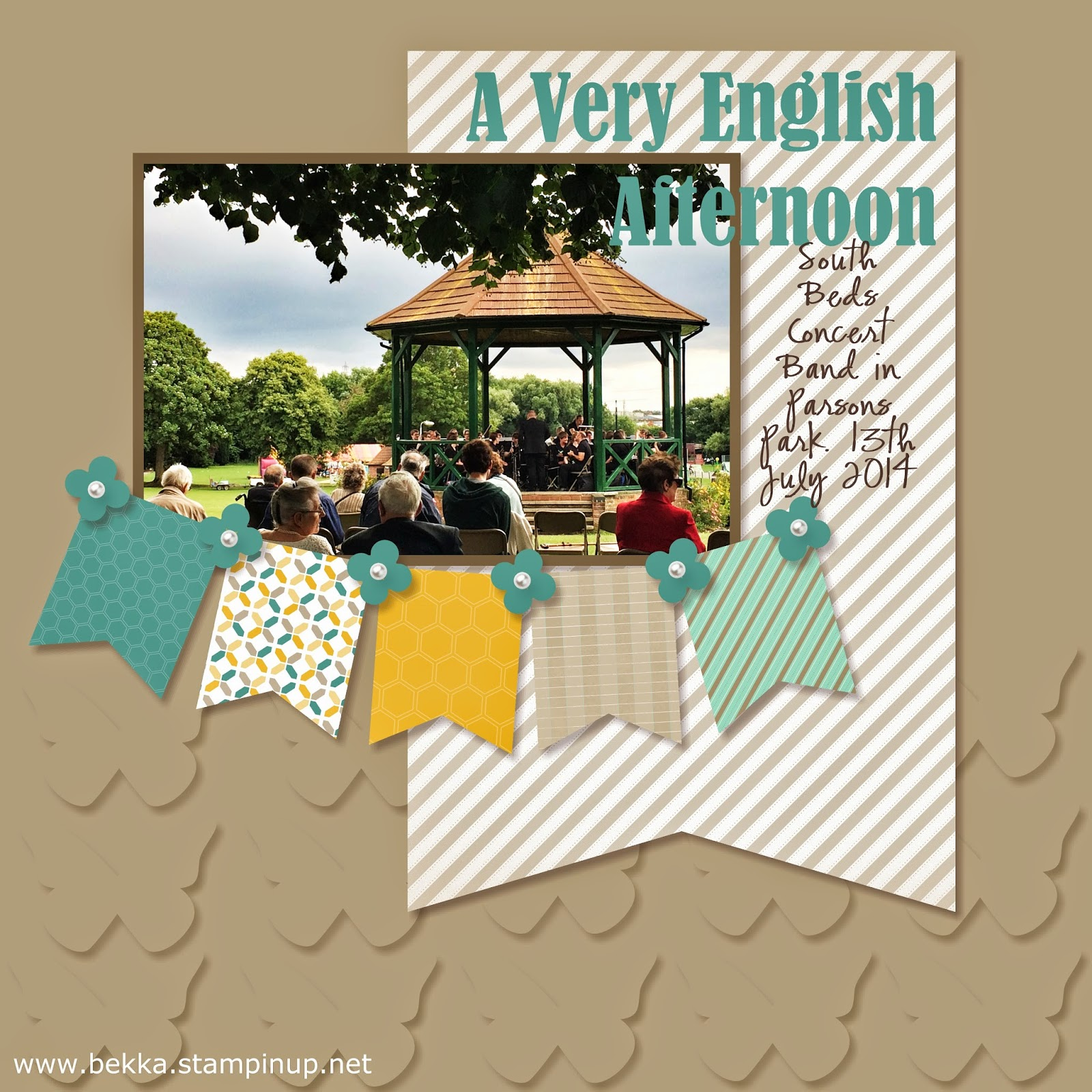 A Very English Afternoon digital Scrapbook Page by Stampin' Up! UK Independent Demonstrator Bekka Prideaux