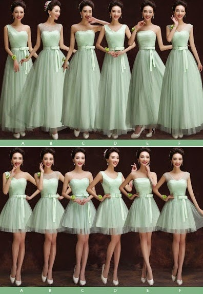 Six-Design Fresh Mint Green Full Lace Bridesmaids Midi/Maxi Dress
