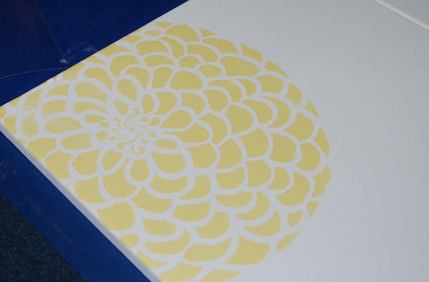 Zinnia Stencil Printable I continued stenciling yellow