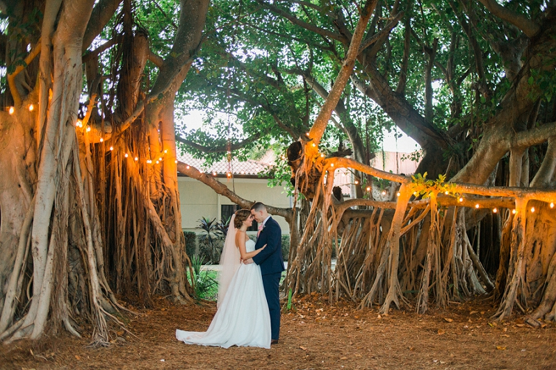 twinkle lights wedding photo