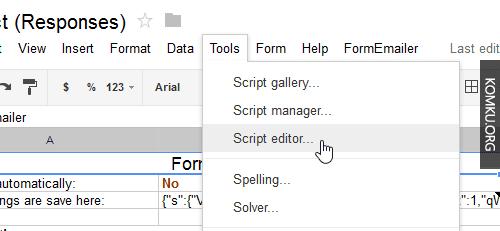 Google Driver Script Editor