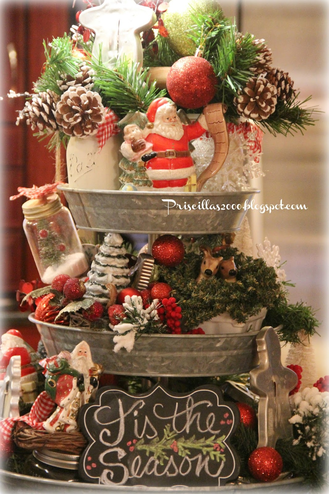 Priscillas Christmas Galvanized Tiered Tray 2015