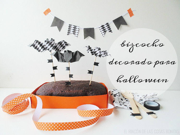 bizcocho de chocolate decorado para halloween