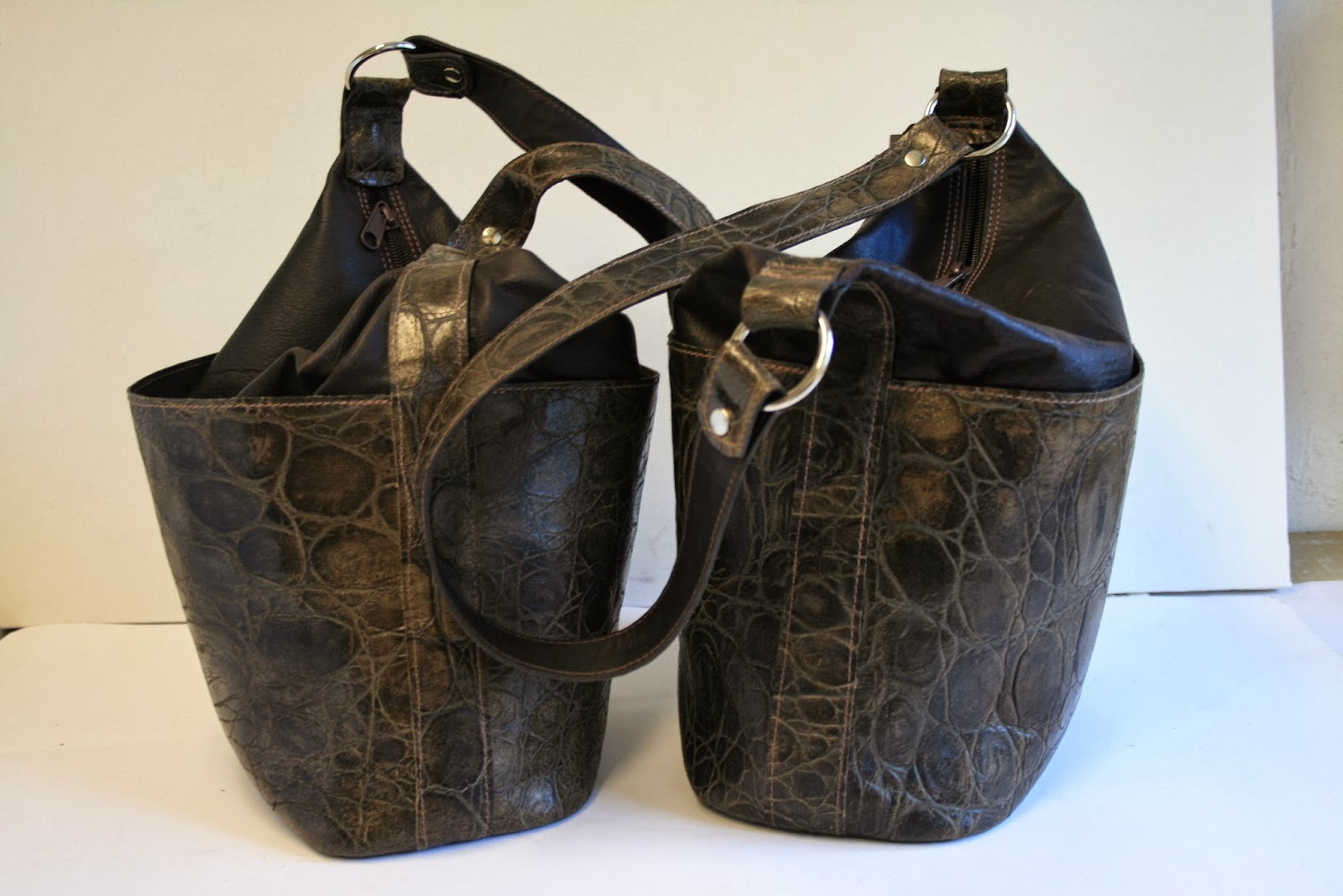 Handmade leather bucket bags