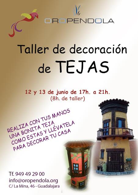 Oropéndola, Guadalajara, Taller, tejas, artesanas, reciclado, artesanía, decoración, manualidades, tejas decoradas, decorar,