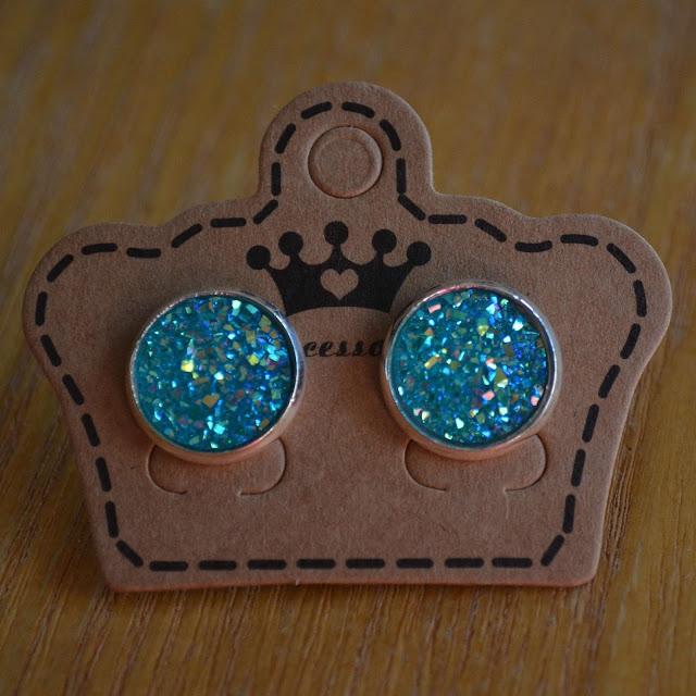 Faux Druzy Stud Earrings Iridescent Druzy Post Earring Blue Studs Faux Gemstone