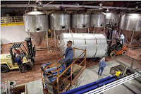 Crews work on the Brevard NC Brewery that began brewing on December 12, 2012
