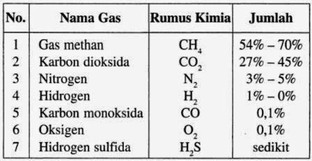 gas yang dihasilkan oleh biogas