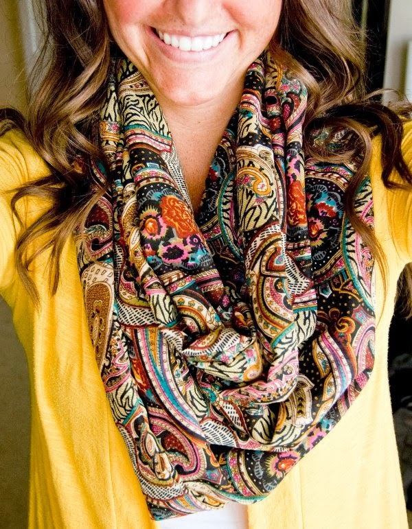 Super cute blouse and scarf combination