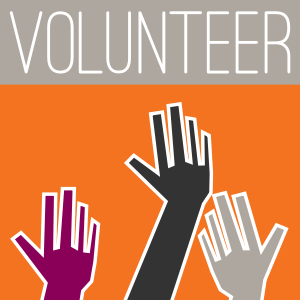 "Graphic image with the word ""Volunterr"" across the top, and hands reaching up to volunteer."