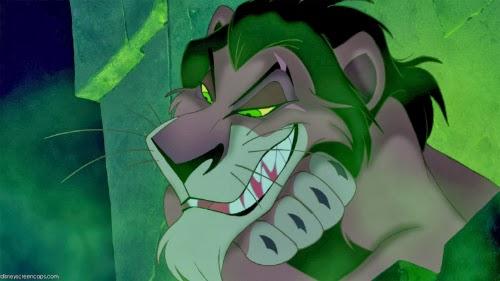 Imagem do ganancioso Scar, personagem do filme Rei Leão, da Disney