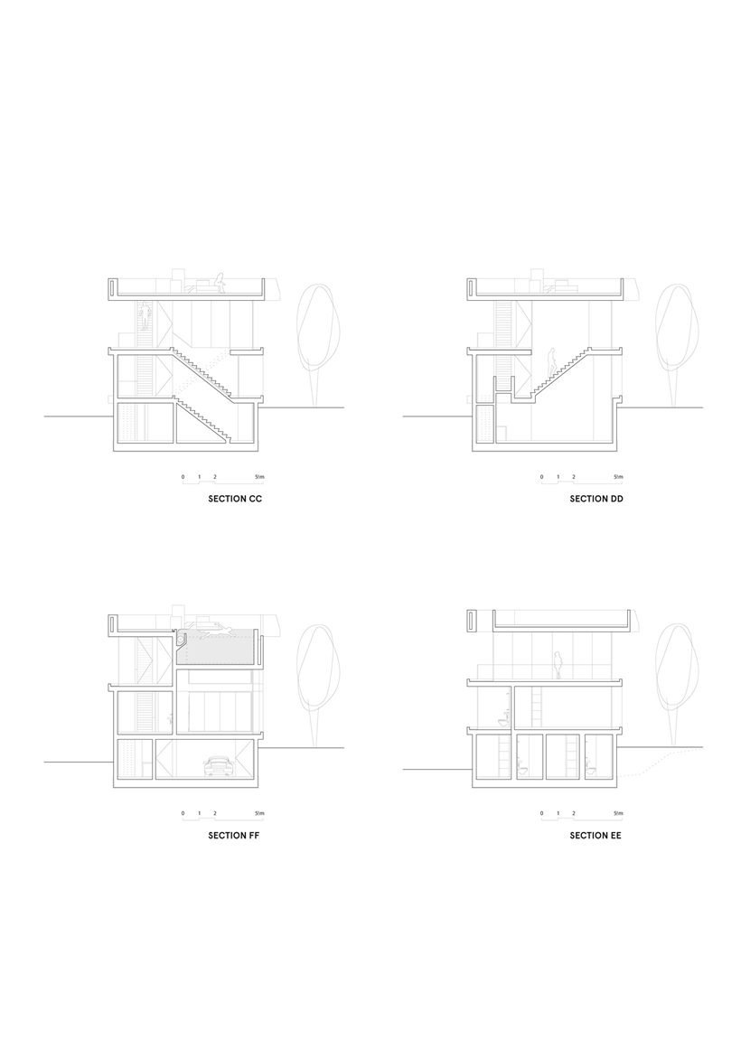 Sections of the House with swimming pool by Wiel Arets Architects (WAA)