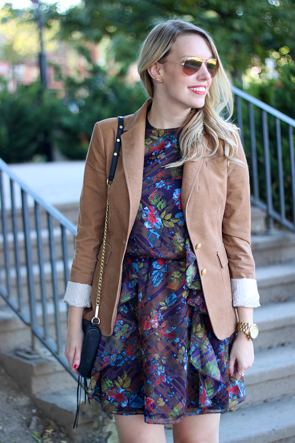 Joe Fresh Fall Floral Ruffle Dress & Banana Republic Gold Button Tan Blazer