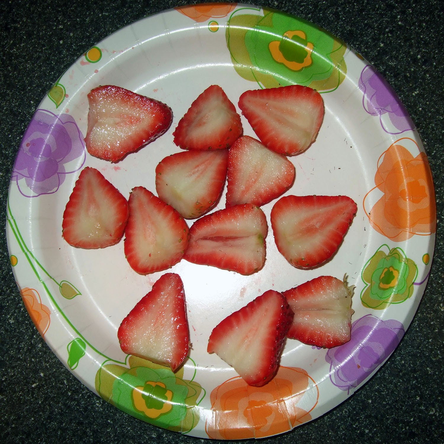 Hulled strawberries.