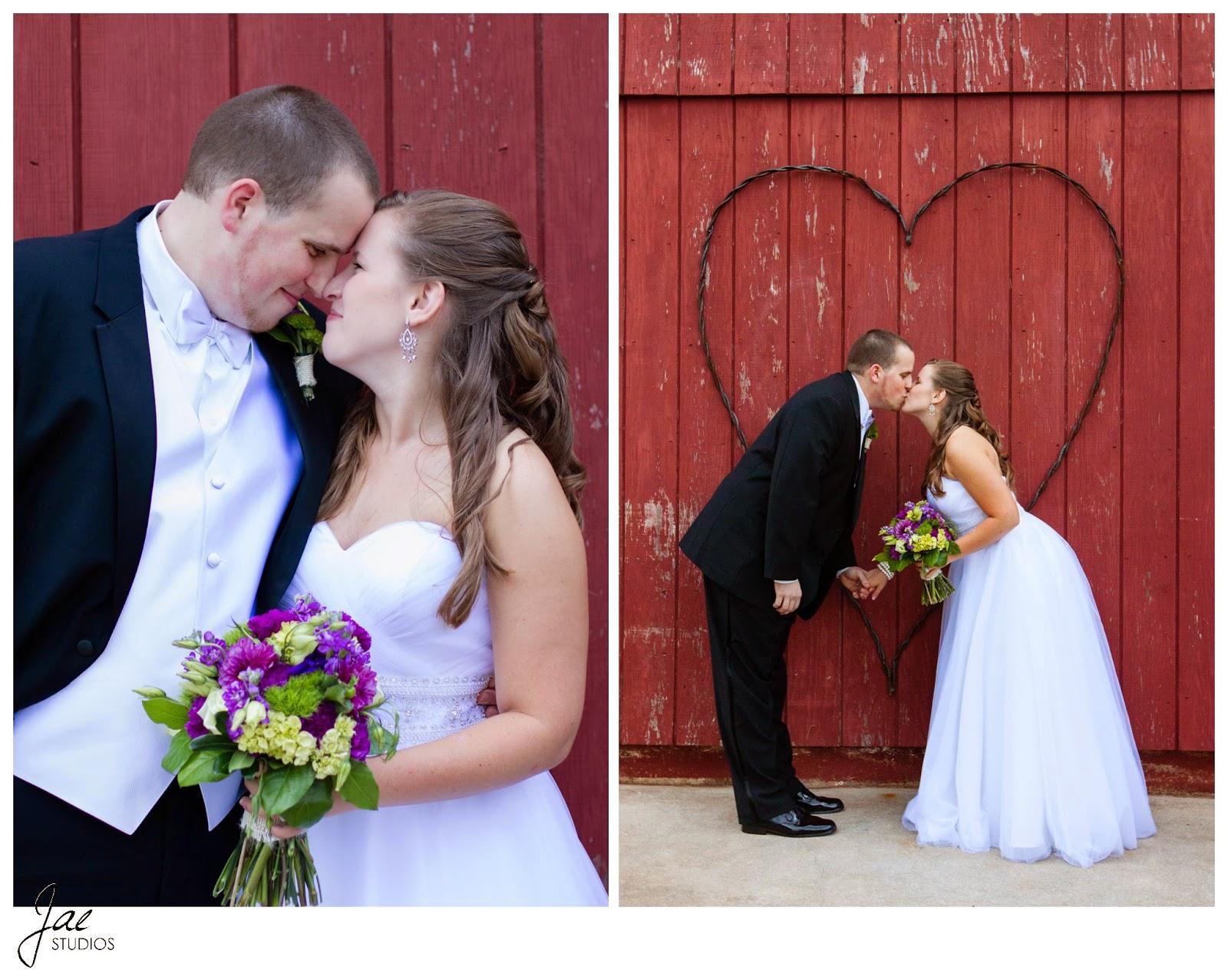 Jonathan and Julie, Bird cage, West Manor Estate, Wedding, Lynchburg, Virginia, Jae Studios, wedding dress, tuxedo, bride, groom, boutonniere, bouquet, kissing, heart, red, barn door