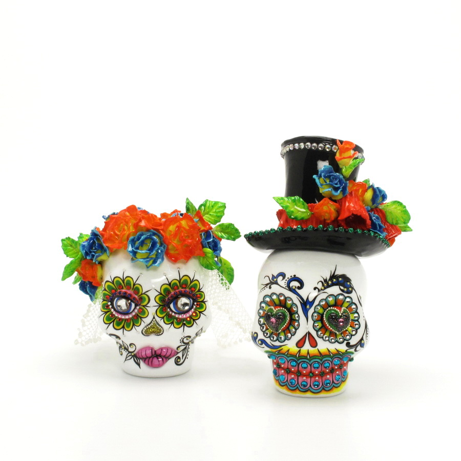 day of the dead wedding cake topper mexican skull 00130