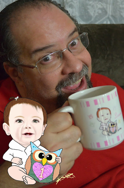 Caricaturista Marcelo Lopes de Lopes e caricatura na caneca - Caneca personalizada