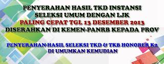 Pengumuman Hasil Tes TKD CPNS Pelamar Umum dan Honorer K2 2013
