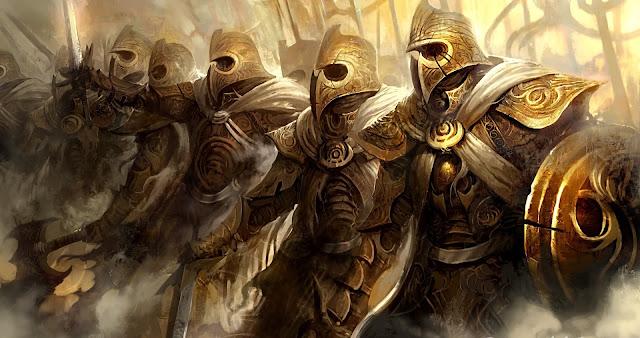 Exército de guardiões com armaduras douradas, exús dourados