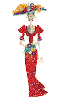 illustration of a Dia de los muertos departed female