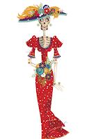 illustration of a Dia de los muertos departed female