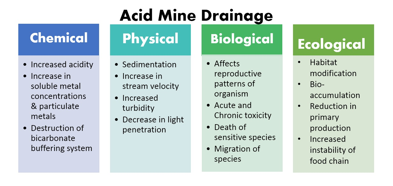the cause and effects of acid mine drainage Acid mine drainage (amd) is an industrial waste which is the result of the extraction process of the mineral coal from the ground it causes widespread pollution in the streams above and below the coals fields amd is caused when water flows through sulfur-bearing materials forming acidic solutions.